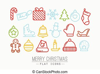 Christmas flat icons color