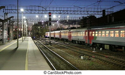 Leningradsky railway station.Moscow - Train on Leningradsky...