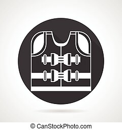 Life jacket black vector icon - Black round vector icon with...