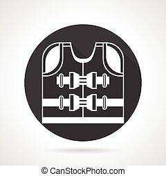 Life jacket black vector icon - Black round vector icon with...