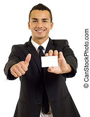 Business man showing a blank business card and giving the ok...