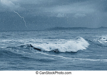 stormy sea with lightning at horizon