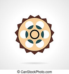 Bike sprocket vector icon flat style - Flat color design...