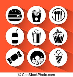 fast food icons design, vector illustration eps10 graphic