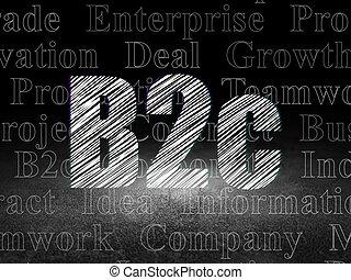 Business concept: B2c in grunge dark room