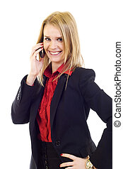 young business woman calling by cellular phone