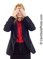 businesswoman in the See No Evil pose