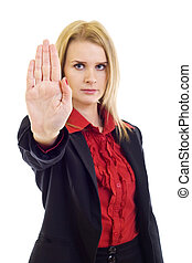 businesswoman saying stop - Blond woman in business clothing...