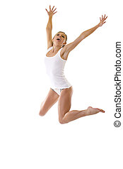 sexy woman jumping - picture of a sexy woman in underwear...