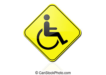 yellow sign - Disabled person warning road sign
