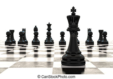 3D, interpretación, Piezas de ajedrez, en, brillante,...