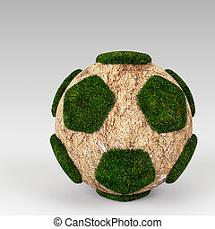 3d rendering Green grass ball
