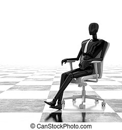3d rendering businessman sitting on chair
