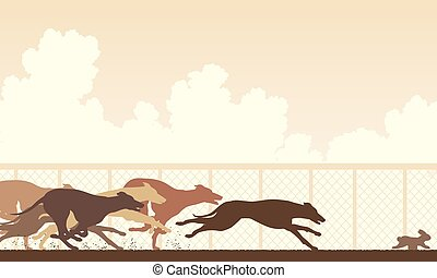Greyhound dog race - EPS8 editable vector illustration of...
