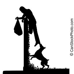 Guard dog and intruder - EPS8 editable vector silhouette of...