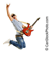 Passionate guitarist jumps isolated on white - Passionate...