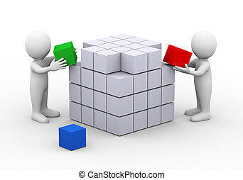 3d people working completing cube box structure design