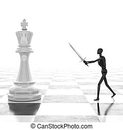 3d rendering Businessman fighting, playing chess