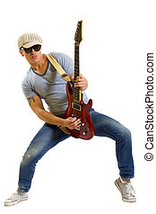 Rockstar with a guitar isolated over white background