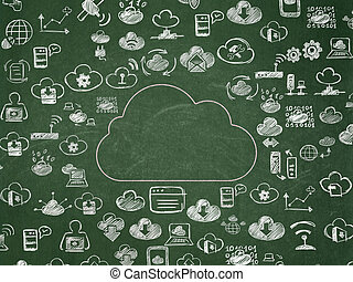 Cloud networking concept: Cloud on School Board background