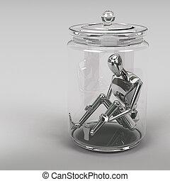 3D, interpretación, hombre de negocios, dentro, Un, vidrio,...