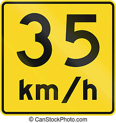 Speed Limit 35 Kmh In Canada - A road sign in Canada - Speed...