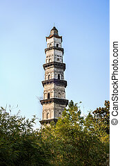 Dashan Pagoda in Shaoxing, Zhejiang Province, China -...