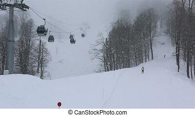 Rosa Khutor Alpine Resort in the mist. Aibga Ridge