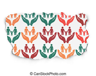 Insurance concept: Family Insurance icons on Torn Paper background