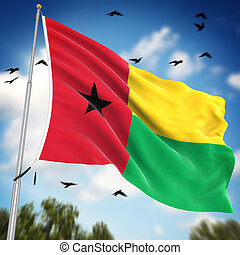 Flag of Guinea Bissau , This is a computer generated and 3d...