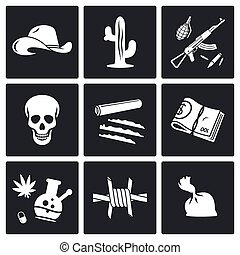Mexican cartel and arms smuggling Vector Icons Set - Mexican...