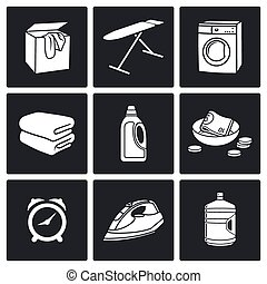 Services Dry Cleaning Vector Icons - Cleaning Vector...