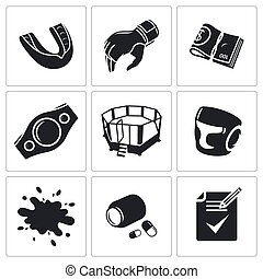 Martial arts Vector Icons Set - Male cruel sport Vector...