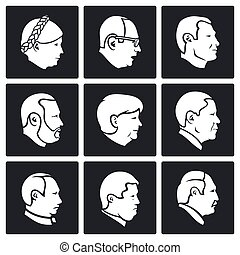 People head Vector Icons Set - Different faces Vector...