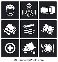 Camp for displaced persons Vector - people migration Vector...