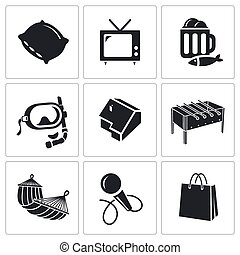 Leisure Vector Icons Set - Pastime Vector Isolated Flat...