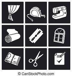 Sewing curtains service Vector Icons Set