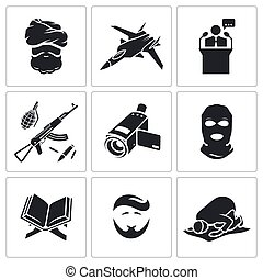 Crime and religion Vector Icons Set - Crime Vector Isolated...