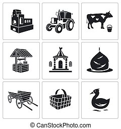 Village life Vector Icons Set - Village Vector Isolated Flat...