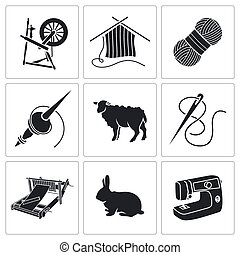 Wool, knitting Icons - Vector Isolated Flat Icons collection...