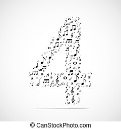 Vector number four made from music notes
