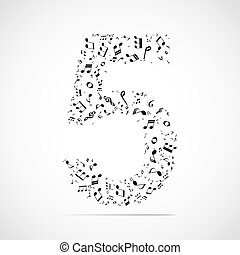 Vector number five made from music notes