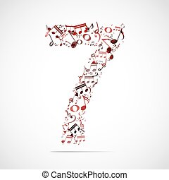Vector number seven made from music notes