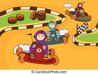 kart racing track - vector illustration of happy kids in a...