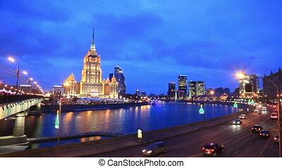 Ukraine hotel in night illumination