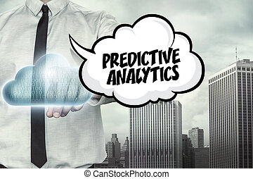 Predictive analytics text on cloud computing theme with...