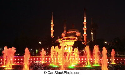 fountain on Sultanahmet square in Istanbul in the evening -...