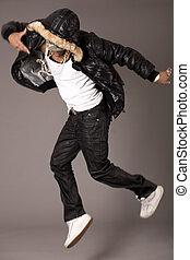 Hip pop dancer jumping