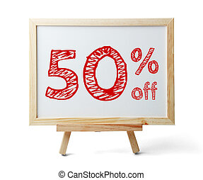 50 percent off - Whiteboard with text 50 percent off...