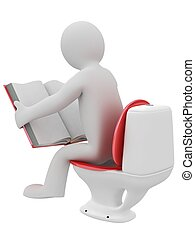 man reading a book in lavatory